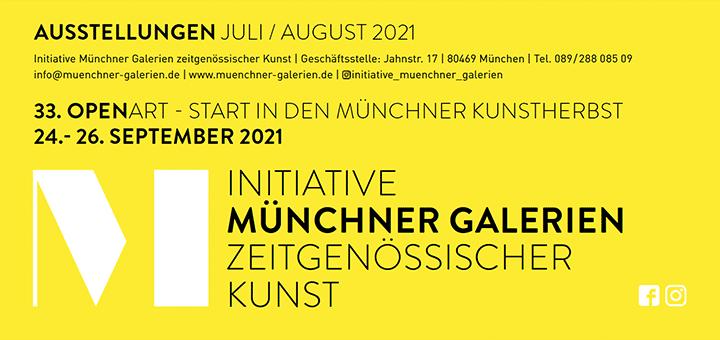 Faltblatt Münchner Galerien Juli/August 2021