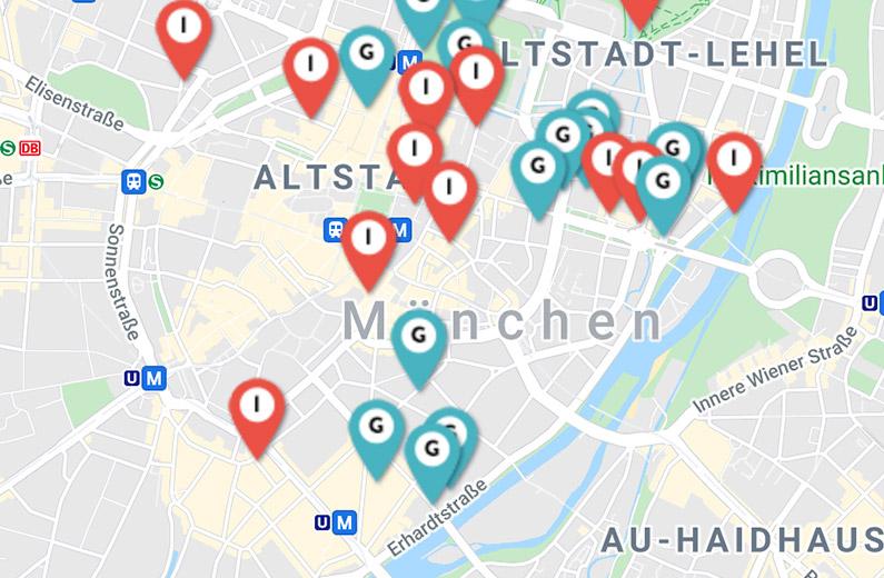 Standorte der Galerien & Institutionen